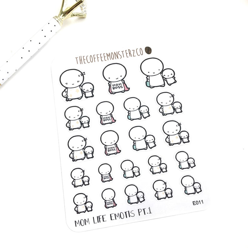 Mom Life Emotis Pt.1  Hand Drawn Planner Stickers and Bullet image 0