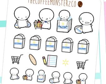 walmart shopping emotis - hand drawn emoti stickers for your planner E146