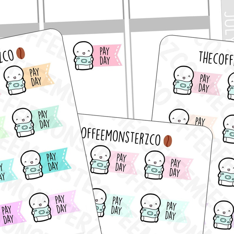Pay Day Flag Emotis  Hand Drawn Planner Stickers and Bullet image 0