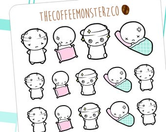 headache emotis - hand drawn emoti stickers for your planner E145