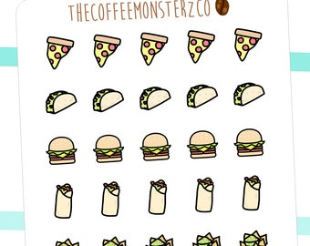 fast food doodles - hand drawn planner stickers C020