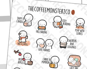 Fall Bucket List Emotis   Hand Drawn Planner Stickers and Bullet Journal Emoti Stickers E277