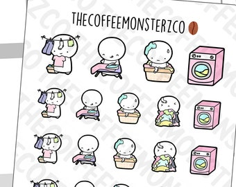 Laundry Emotis | Hand Drawn Planner Stickers and Bullet Journal Emoti Stickers  E073