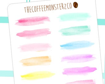 watercolor paint swatches - functional planner stickers C065