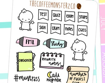 relatable student - hand drawn planner stickers C039