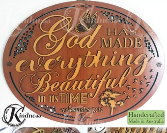 Wooden Wall Art, God has made everything beautiful in its time Ecclesiastes 3:11, Inspirational Quote, inspirational gift, home sign decor