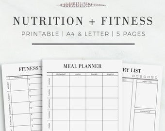 nutrition and fitness printable kit fitness planner nutrition planner meal planner printable exercise printable grocery list printable
