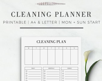 Cleaning Planner | Printable Cleaning Planner | Cleaning Printable in A4 and US Letter Size | Planner Inserts | Modern Cleaning Planner |