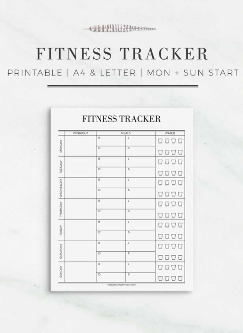 Fitness Tracker | Printable Fitness Tracker | Fitness Printable in A4 and  US Letter Size | Planner Insert | Modern Fitness Tracker Printable