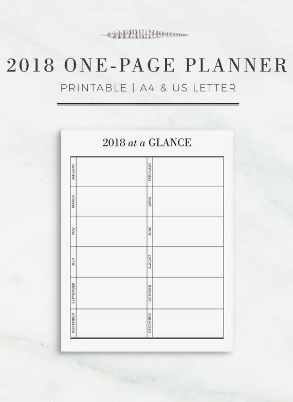 2018 one page planner printable yearly planner page etsy