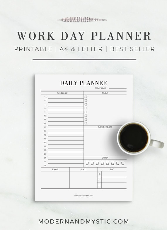 work day planner daily planner planner for work etsy