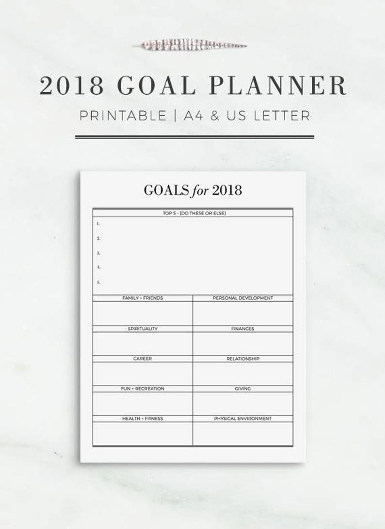 2018 Goal Planner | Printable Annual Goal Planner Page | Goal Planner  Printable | Yearly Printable | A4 and Letter Size Planner Insert