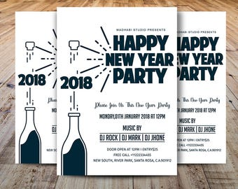 new year party flyer template printable new year invitation card ms wordphotoshop and elements template instant download