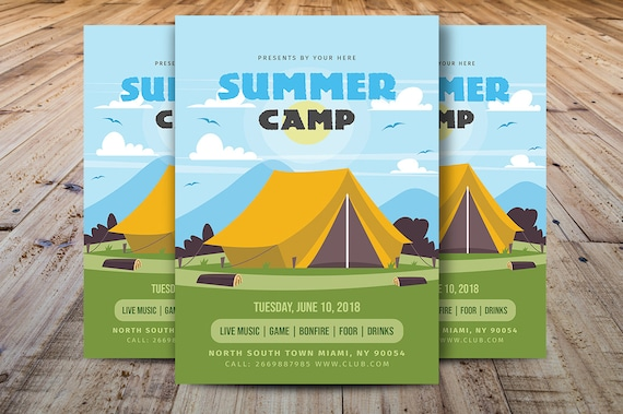 Summer Camp Flyer Summer Event Flyer Summer Kids Festival Flyer Template Photoshop Elements Ms Word Template Instant Download