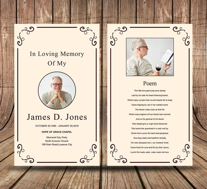 Funeral Prayer Card Template Editable MS Word & Photoshop ...