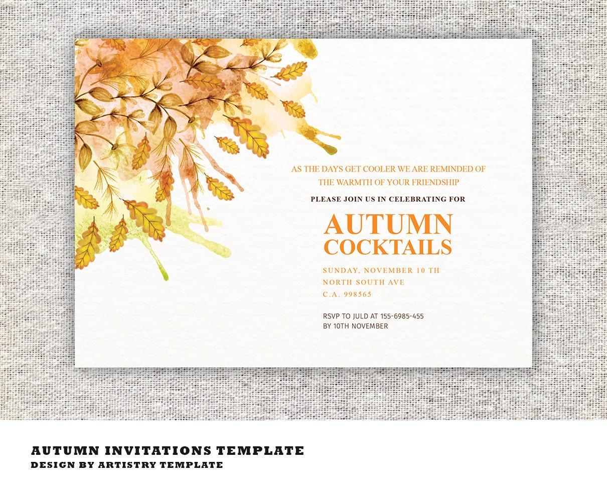 Herbst-Cocktail-Party-Einladungen Einladung Karte MS Word | Etsy