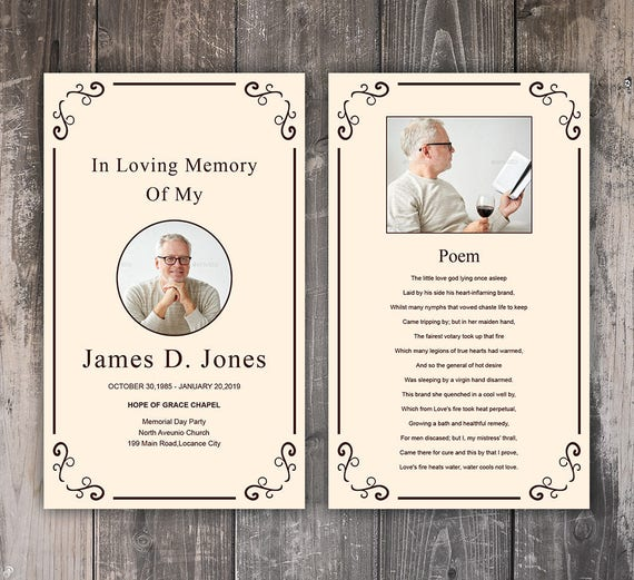 Funeral Prayer Card Template Editable MS Word & Photoshop