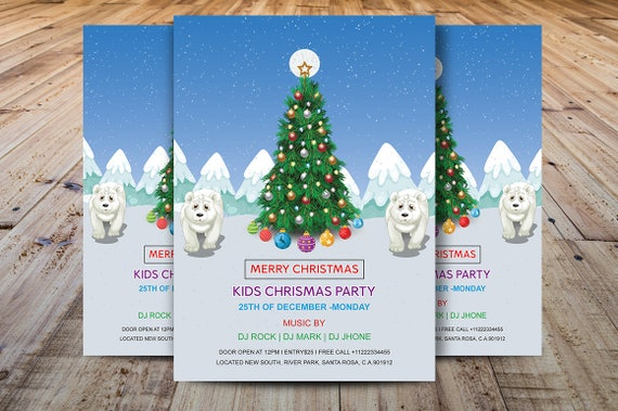 Kids Christmas Party Flyer Printable Christmas Invitations Etsy