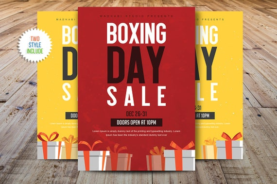Boxing Day Sale Flyer Cyber Monday Sale Flyer Template Etsy