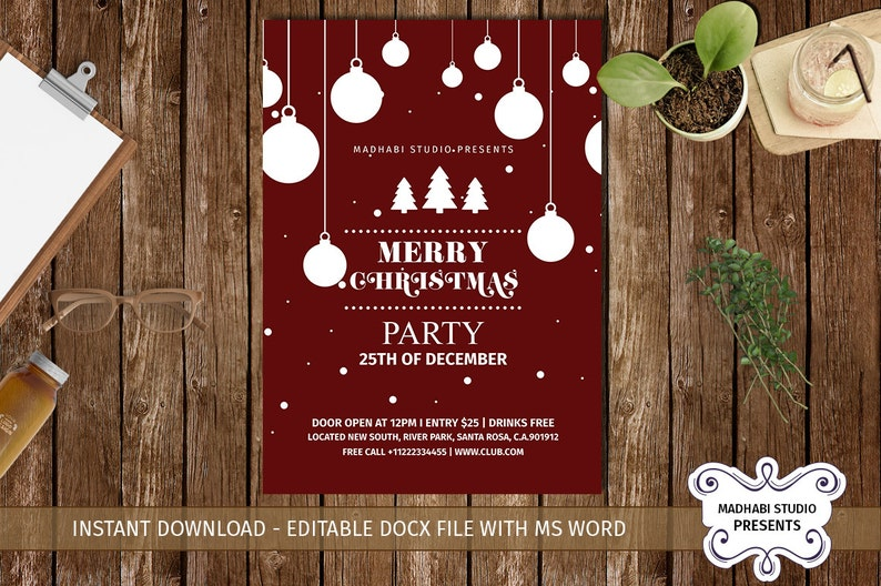 Merry Christmas Party Flyer Merry Christmas Flyer Merry Christmas Invitation Ms Word Photoshop Elements Template Instant Download