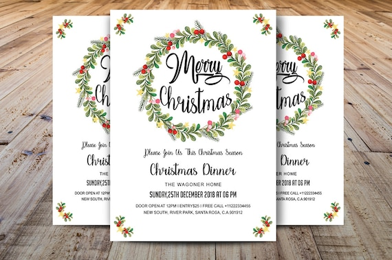 Christmas Dinner Invitations Template Christmas Card Christmas Party Flyer Template Ms Word And Photoshop Template Instant Download