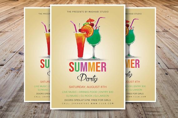 summer party flyer summer event flyer summer festival flyer etsy