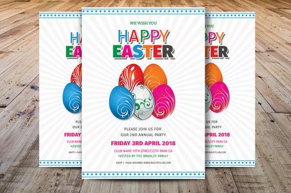 Easter Egg Hunt Flyer Template Easter Party Flyer Easter | Etsy