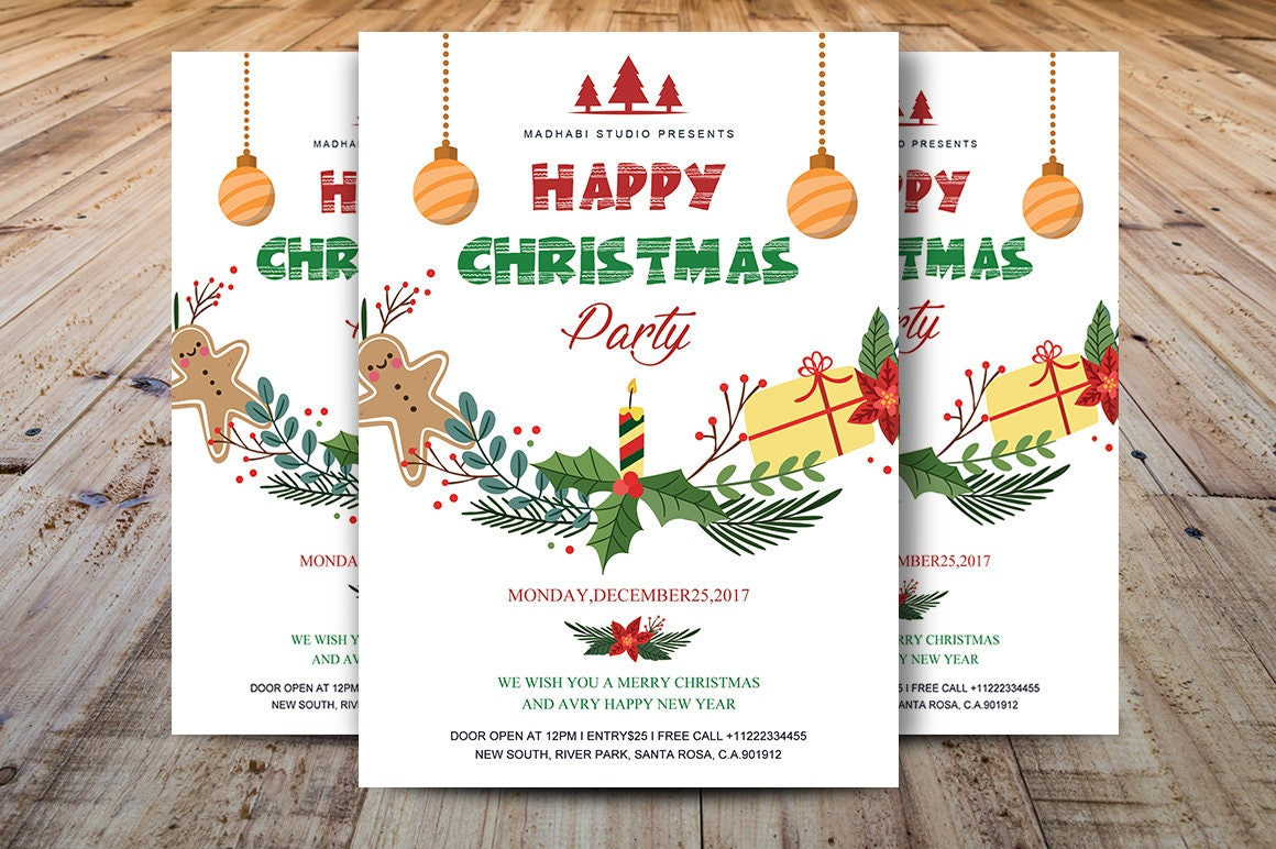 Printable Christmas Party Flyer Christmas Invitations Template Ms Word Photoshop Template Instant Download