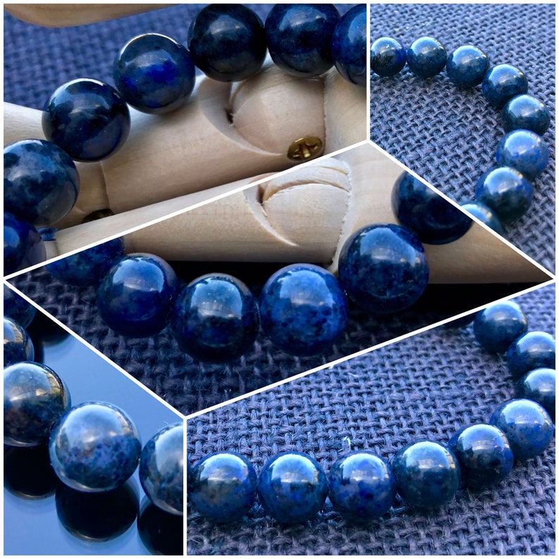Rare Harmony Courage Men/'s Bracelet Third Eye Chakra Creativity Throat Chakra Dumortierite Bracelet Leo Enterprise