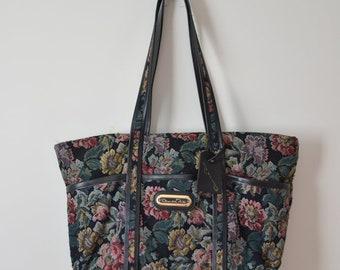 ae718cd4f976 Vintage Oscar de la Renta Large Floral Fabric Bag