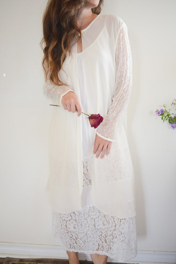 Vintage Sheer Bridal Long Sleeved Cover Up with S… - image 3