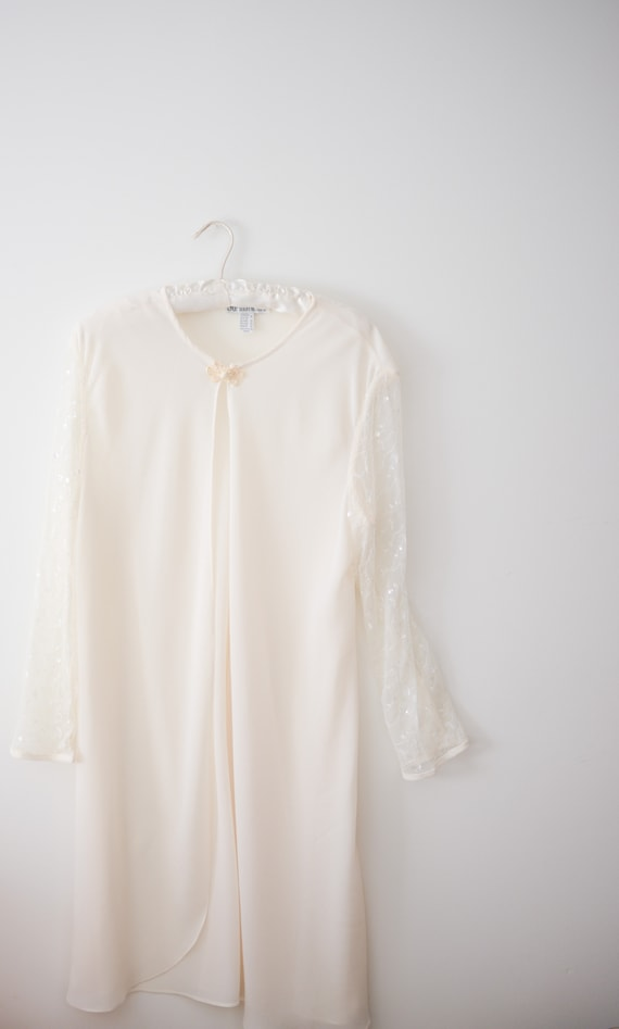 Vintage Sheer Bridal Long Sleeved Cover Up with S… - image 4