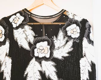 Detailed Sequined Vintage Black & White Dress