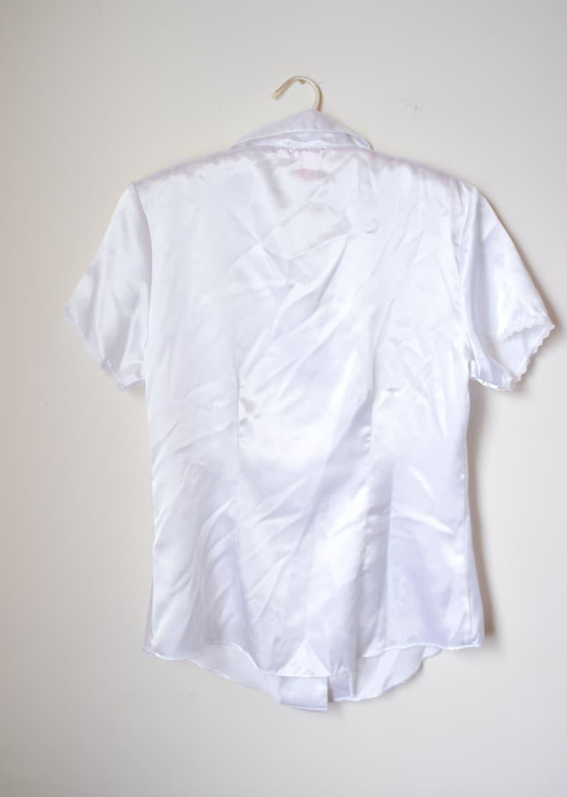 Bridal Prep Wear Minimal White Silky Bridal Wear Button Down Top TOP ONLY