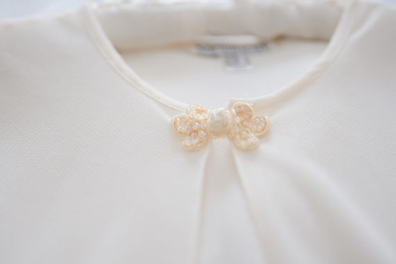 Vintage Sheer Bridal Long Sleeved Cover Up with S… - image 9