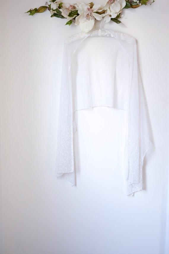 Vintage White Sheer Sequined Bridal Formal Cover-U