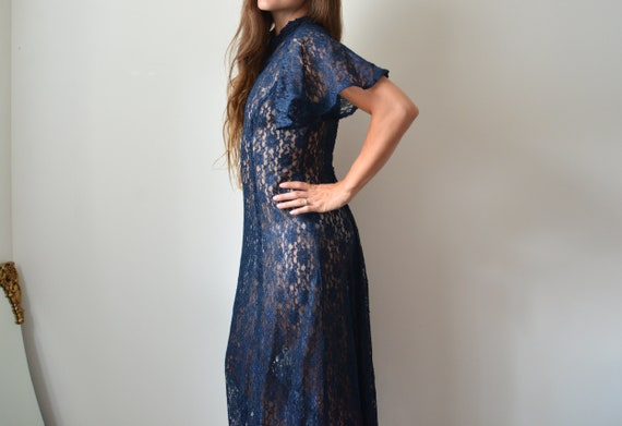 Antique Dark Blue Long Lace Dress with Angel Sleev