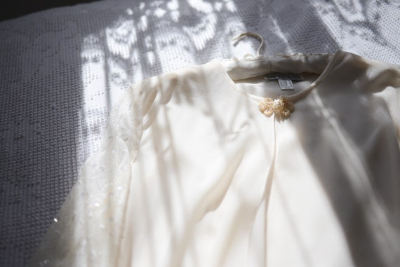 Vintage Sheer Bridal Long Sleeved Cover Up with S… - image 2