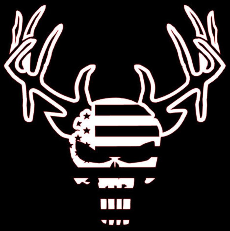 Patriotic Deer Skull with Antlers Decal, window sticker for car truck atv  utv, Bow Hunting, Custom text, buck droptine, bowhunting, archery