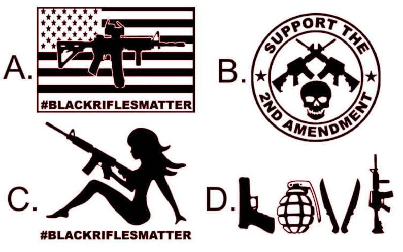 Black Rifles Matter AR 15 Decal Sticker, Gun, AR-15, 2nd Amendment,  Hunting, Shooting, Thin Blue Line