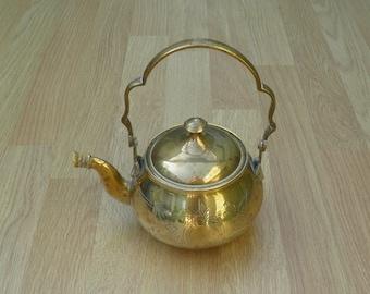 Ornamental Teapot - Brass - Etched Design - Home Decor - Vintage Brassware