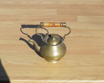 Decorative Teapot - Brass - Etched Design - Probably Made in India - Vintage Brassware - Home Decor