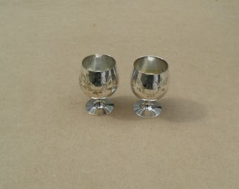 Miniature Goblets - Silver Plated - Etched Design - Distressed/Worn/Shabby Chic - Vintage Silverplate