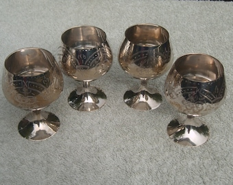 Goblets - Silver Plated/EPNS - Etched Design - Distressed/Worn/Shabby Chic - Vintage Silverplate