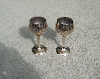 Mini Goblets - Silver Plated/EPNS - Etched Design - Distressed/Worn/Shabby Chic - Vintage Silverplate
