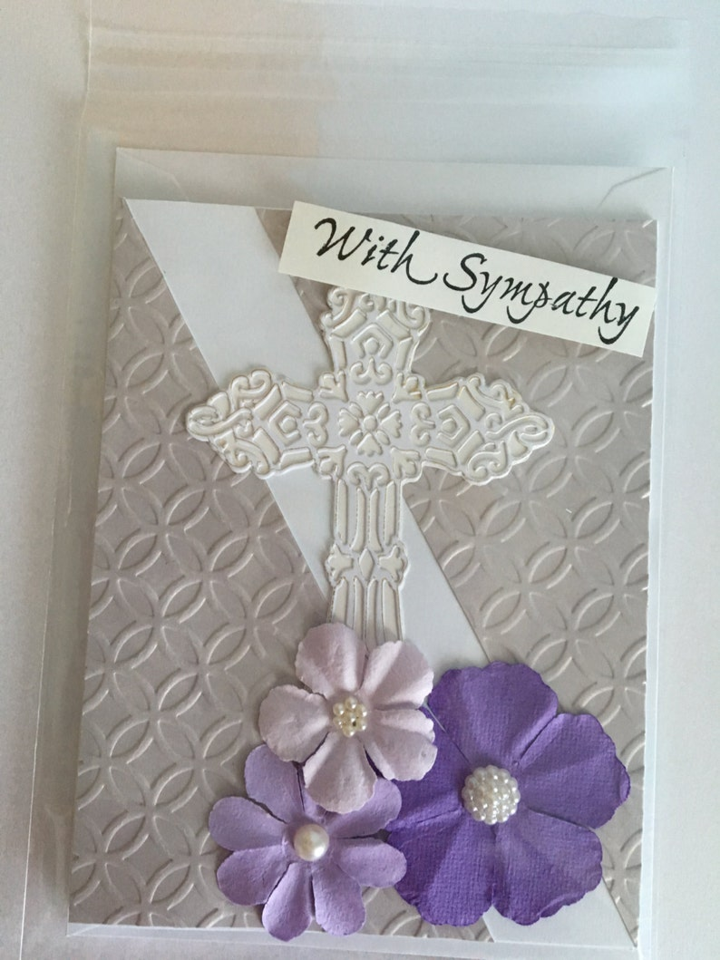 Handmade beautiful 3d shades of lilac flowers with large die cut and embossed ornate Cross Sympathy card