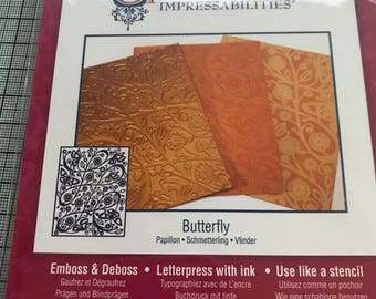 SPELLBINDERS IMPRESSABILITIES Flowers OR Butterfly, Emboss, Deboss, Letterpress with ink or use as a stencil for all your papercrafts