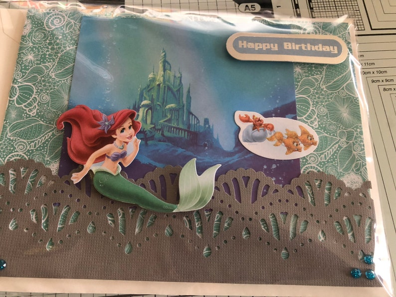 5 Choices BELLE or ARIEL Handmade Die Cut or Laser Cut Ariel under the sea or on a Rock or Belle with Red Rose or in front of CASTLE