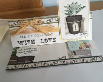 Handmade beautiful 3d all things grow with love, pots of herbs large Get Well soon easel card