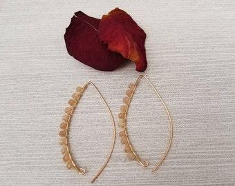 14K Rose Gold Threader Earrings // Genuine Sunstone Gemstones // 14K Gold, Rose Gold & Sterling Silver
